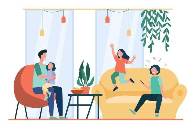 Младо семейство във всекидневната на дома им
